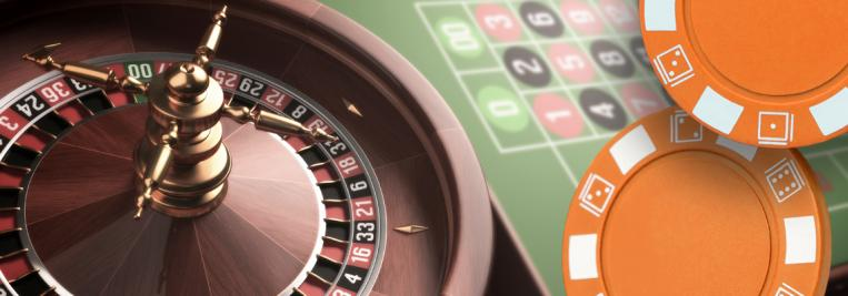 roulette wheel, chips and roulette table